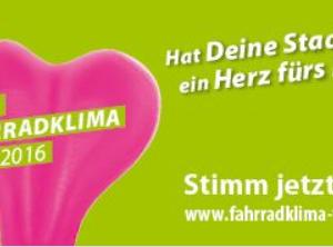Plakat zum ADFC Fahrradklimatest 2016 mit Hinweis auf link zur Umfrage